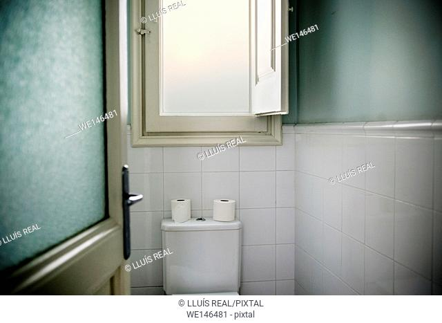 toilet seen from an open door with a window in the background and two rolls of toilet paper on top of the toilet cistern