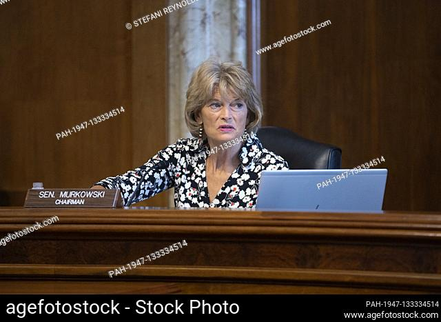 United States Senator Lisa Murkowski (Republican of Alaska) listens during a U.S. Senate Committee on Energy and Natural Resources hearing on Capitol Hill in...