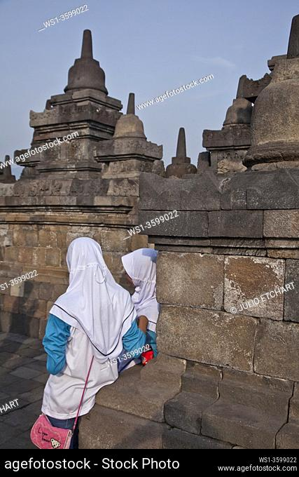 The ancient Borobudur Buddhist temple near Yogyakarta, Indonesia