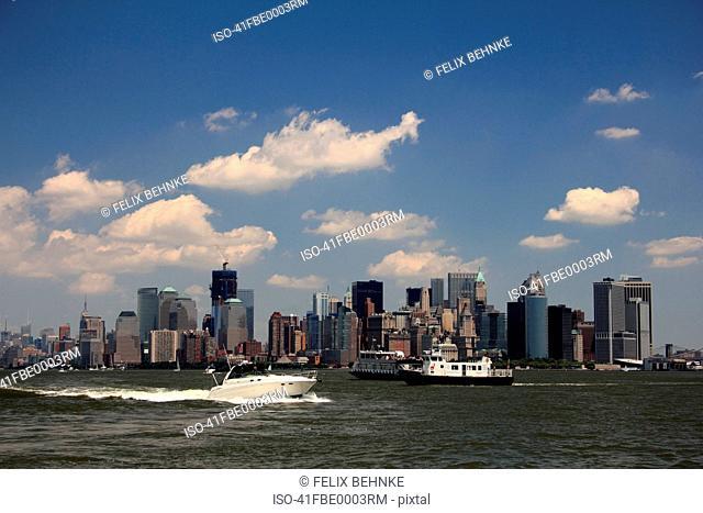 Boats in bay near Manhattan