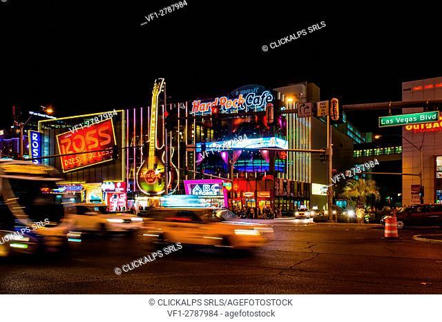 Las Vegas Boulevard, Las Vegas, Nevada, Usa. The Hard Rock Cafè on the strip in Las Vegas