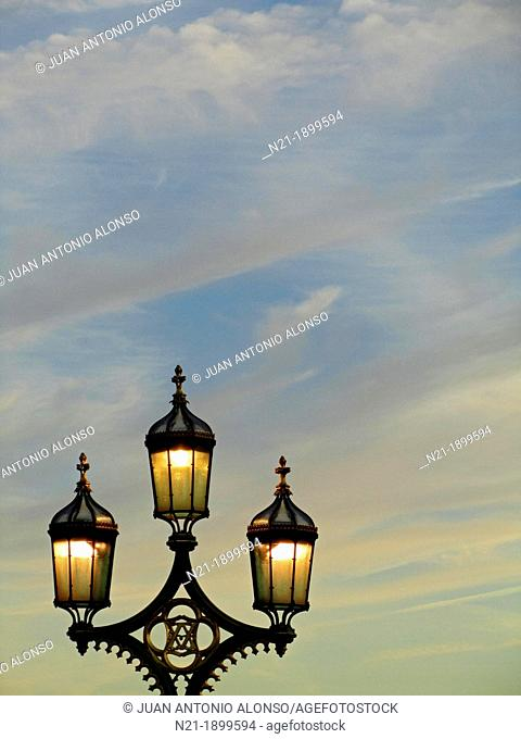 Lamp posts on the Westminster Bridge, London, England, Great Britain, Europe