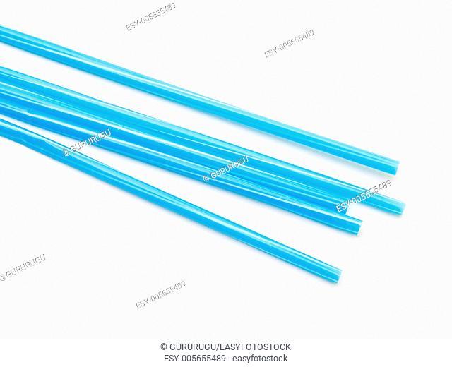 Light blue straws isolated on white back ground