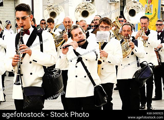 A marching band in Ginosa, Puglia, Italy