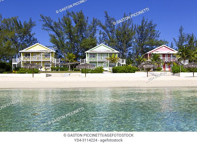 Houses in front of the beach, Alabaster Bay, Eleuthera island, Bahamas