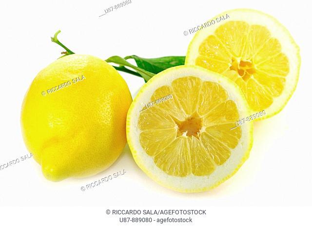 One Whole Lemon Half Lemon and Leaf