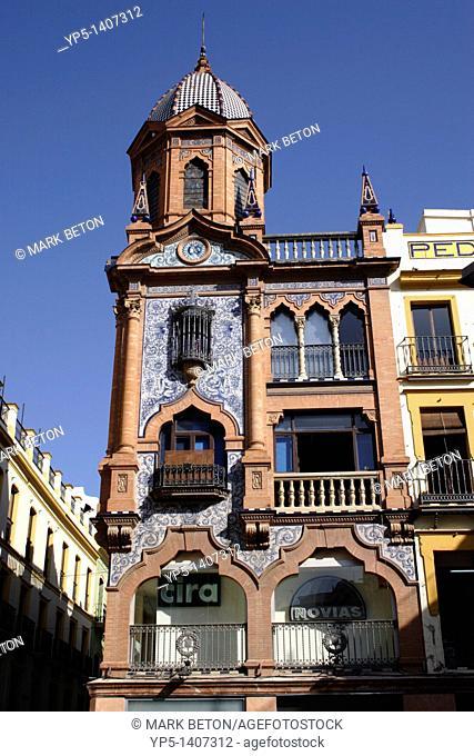 Building facade at Plaza Jesus de la Pasion Santa Cruz district Seville