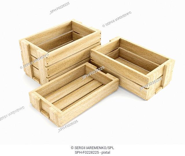 Empty wooden boxes, illustration