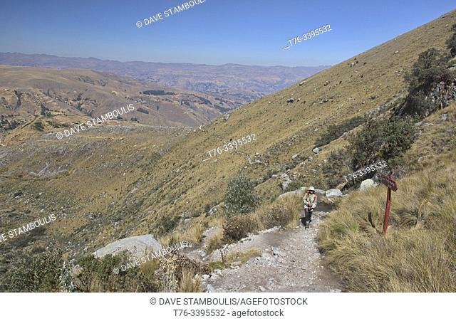 Hiker on the beautiful Laguna Churup trail, Huascaran National Park, Huaraz, Peru