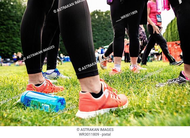Low section of people in sport shoes on grass