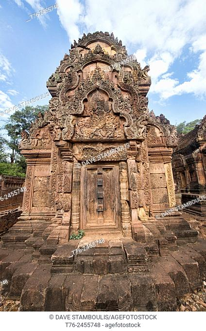 Temple and carvings at the Banteay Srei temple at Angkor Wat in Siem Reap, Cambodia