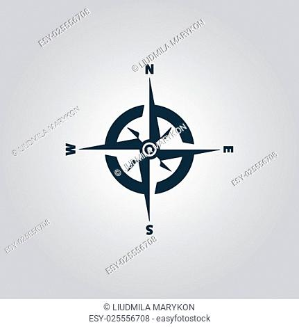 Compass. Flat web icon or sign isolated on grey background. Collection modern trend concept design style vector illustration symbol