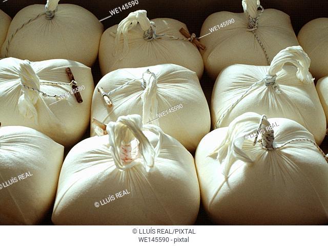 Homemade Mahón cheeses (with denomination of origin). Minorca, Balearic Islands. Spain