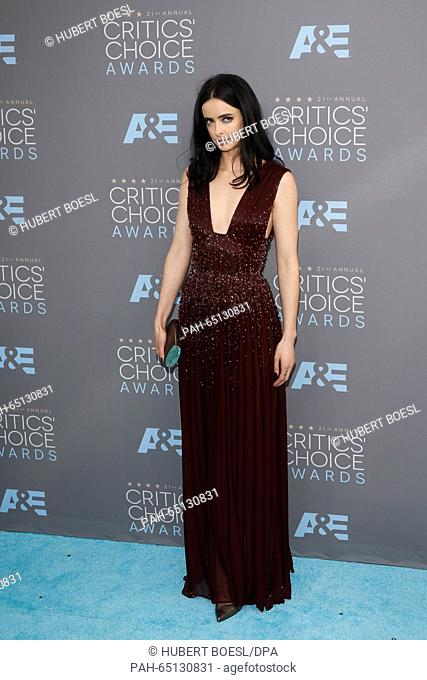Actress Krysten Ritter arrives at the 21st Annual Critics' Choice Awards at Barker Hangar at Santa Monica Airport in Los Angeles, USA, on 17 January 2016