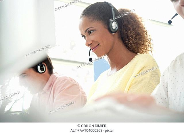 Operators at work in call center