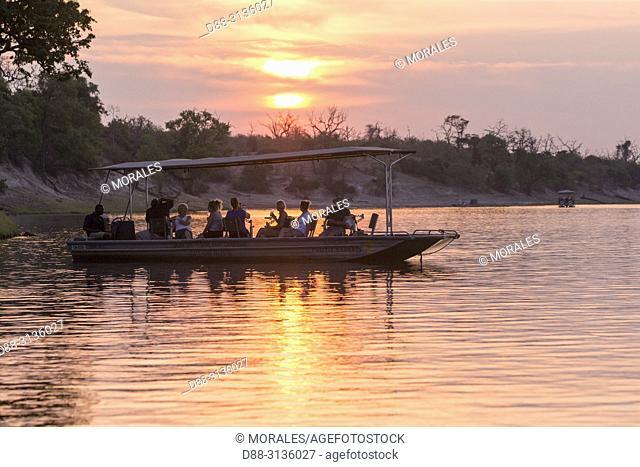 Africa, Southern Africa, Bostwana, Chobe i National Park, Chobe river, . boat full of wildlife photographers