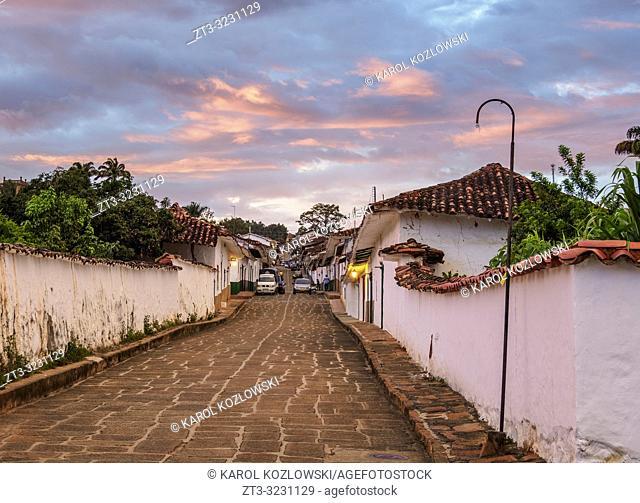 Street of Barichara at sunset, Santander Department, Colombia