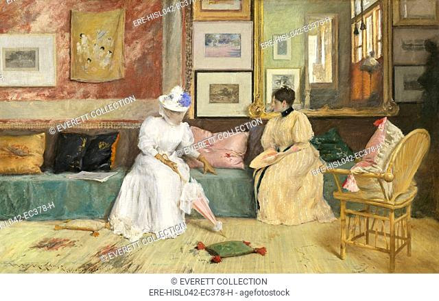 A Friendly Call, by William Merritt Chase, 1895, American impressionist painting, oil on canvas. The 'visit' took place in Chase's own studio at his summer home...