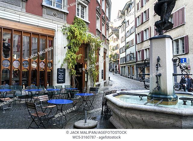 pedestrian street in aldstadt old town of central zurich city switzerland