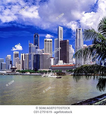 Central business district skyline with skyscrapers and Marina Bay, Singapore