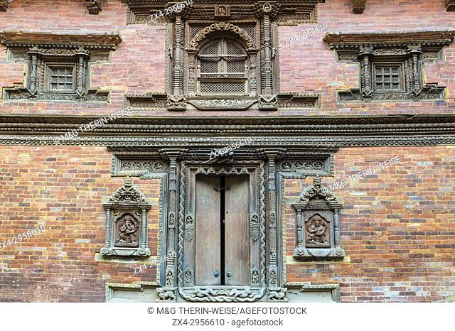 Mul Chowk courtyard, Wall carved Statues, Hanuman Dhoka Royal Palace, Patan Durbar Square, Unesco World Heritage Site, Kathmandu valley, Lalitpur, Nepal, Asia
