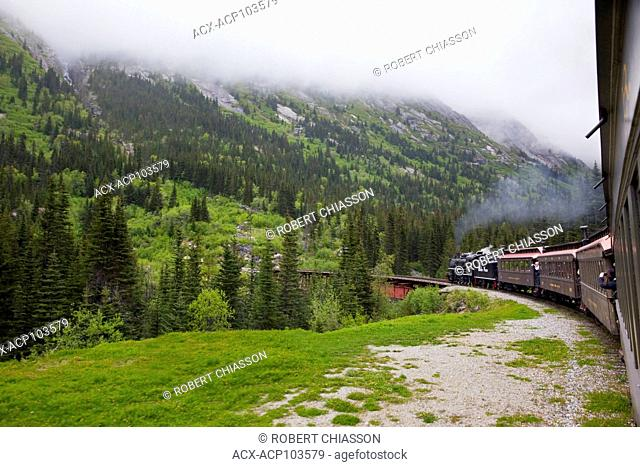 The White Pass and Yukon Route Railroad carries tourists in vintage parlor cars from Skagway up the White Pass and into the Canadian province of Yukon