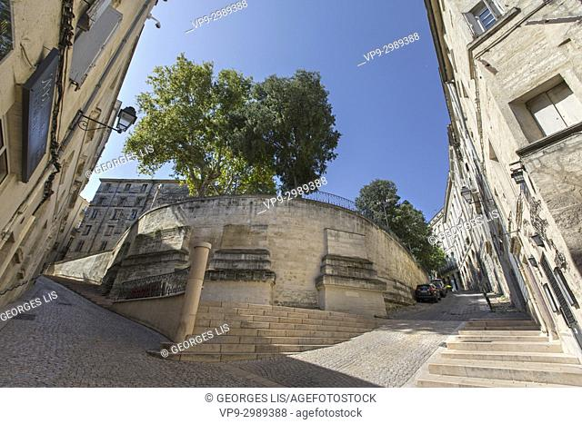 Old houses in historic city center. Sainte Croix street Canourgue square. Montpellier