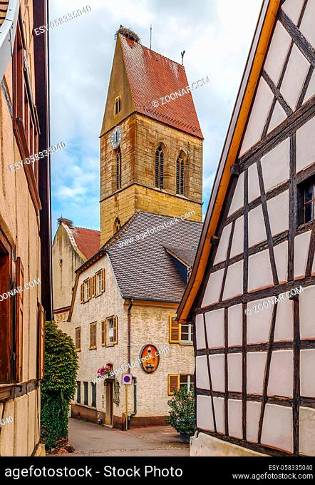 View of Church Saints Peter and Paul tower in Eguisheim, Alsace, France
