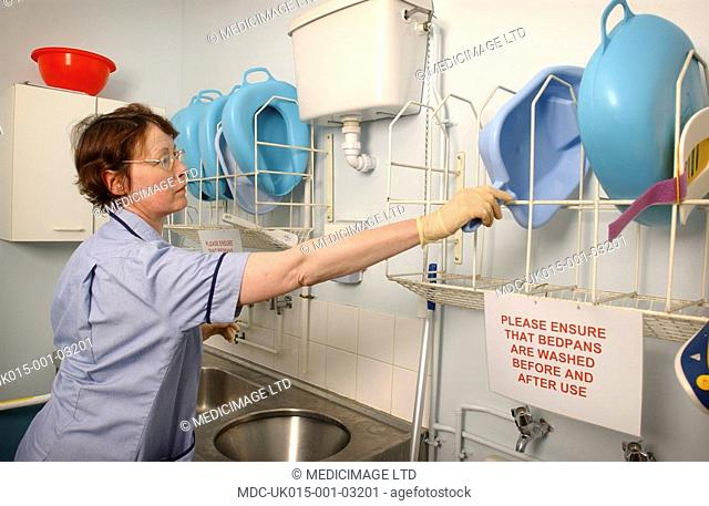 Hospital Orderly In Sluice Room Stock Photo Picture And Rights