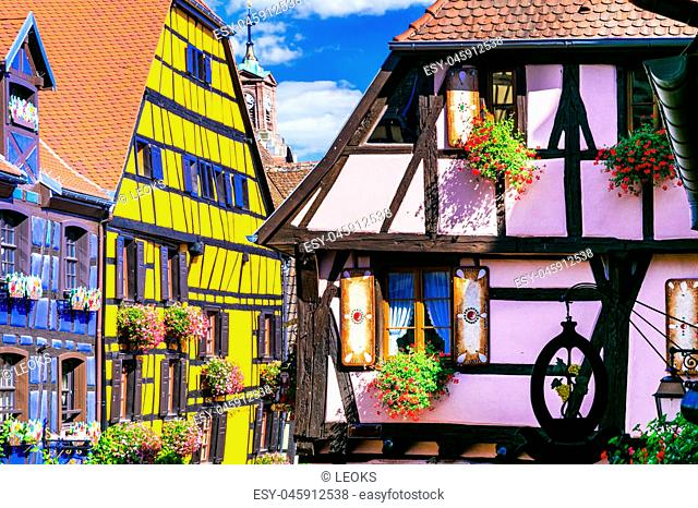 Multicolored btraditional houses of Riquewihr village,France