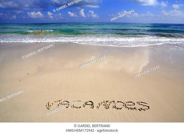 Tunisia, Djerba, holidays written on sand
