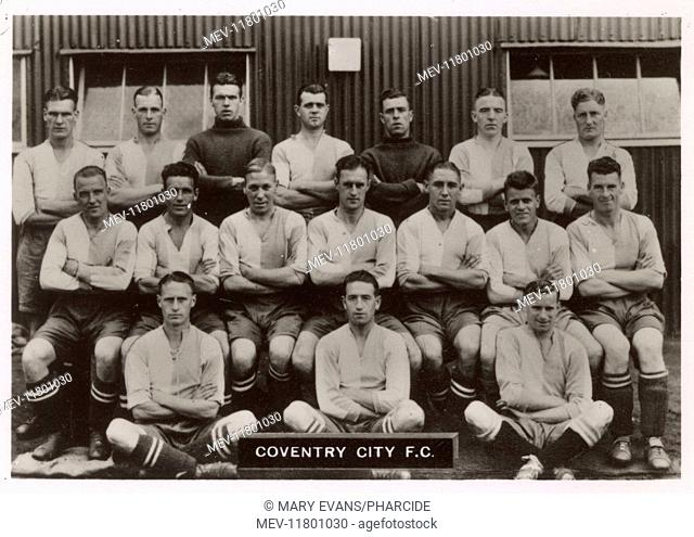 Coventry City FC football team 1936. Back row: Mason (Captain), Brook, Morgan, Brown, Pearson, McCaughey, Boileau. Middle row: Bisby, McNestry, Lauderdale