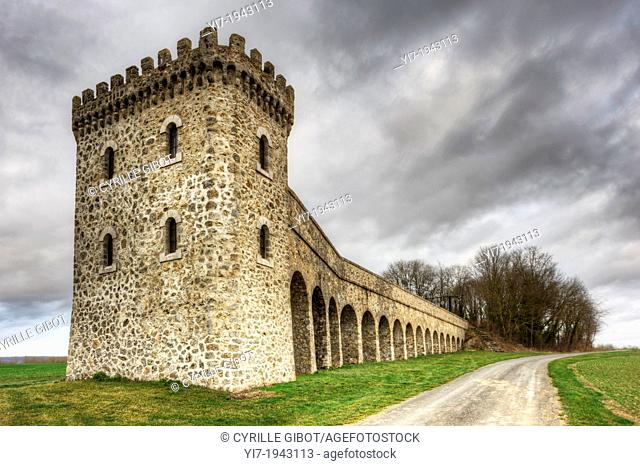 Conde-sur-Marne Tower, a listed pumping station built in the 19th century, Marne, Champagne Ardennes, France
