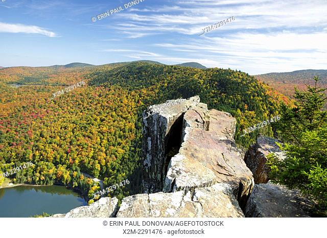 Dixville Notch in Dixville, New Hampshire USA from Table Rock during the autumn months