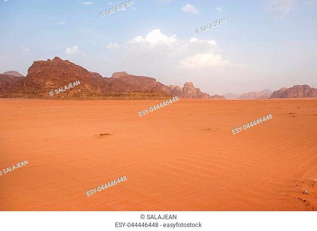 Wadi Rum desert, Jordan. Sandstone cliffs and sand dunes in the desert