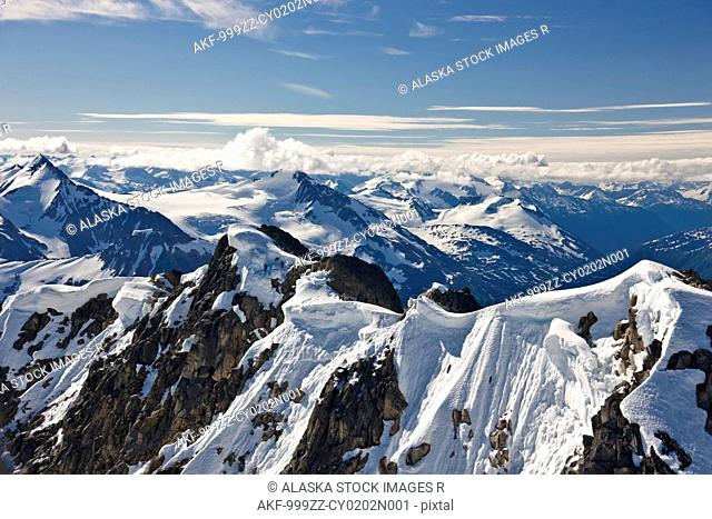 Aerial view of mountains and glaciers in the Coastal Mountain Range north of Haines, Southeast Alaska, Summer