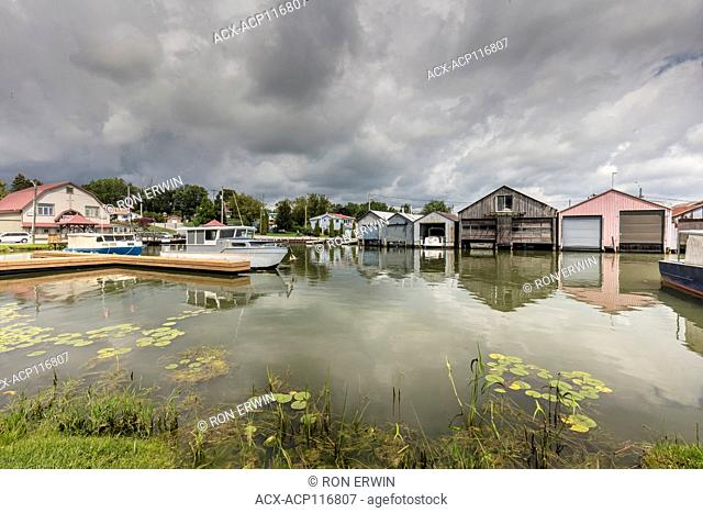 Boathouses on Long Point Bay on Lake Erie at Port Rowan, Ontario