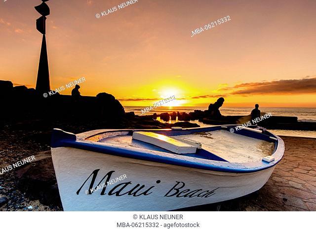 Evening seaside, evening mood, Maui Beach, Las Americas, Tenerife, Canary Islands, Europe