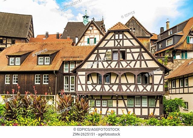 half-timbered houses, historic city center, gernsbach, black forest, baden-wuerttemberg, germany