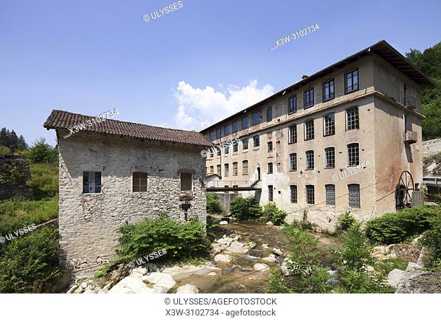 Fabbrica della ruota, ex wool factory Zignone, Vallefredda, Pray Biellese, Biella, Piemonte, Italy, Europe