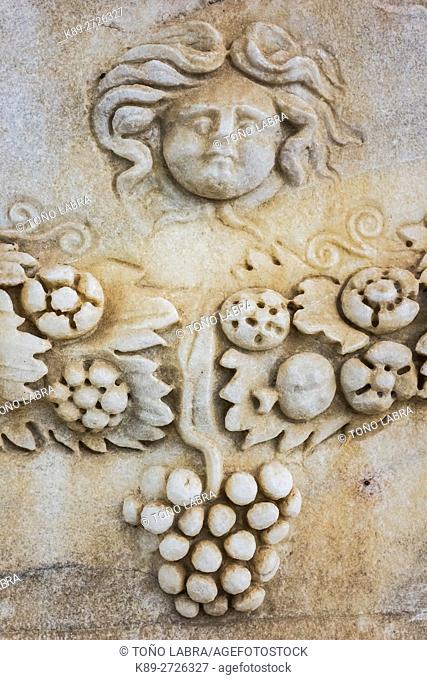 Sarcophagus with Garland. Hierapolis Museum. Ancient Greece. Asia Minor. Turkey