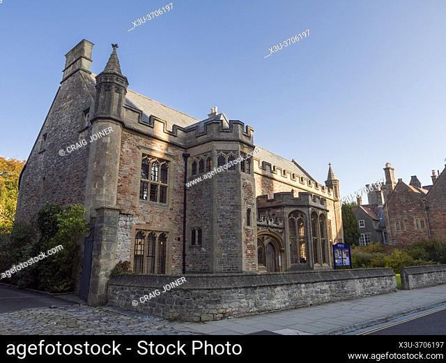 Wells Cathedral School Music Faculty building dating back to the 15th century in the city of Wells, Somerset, England