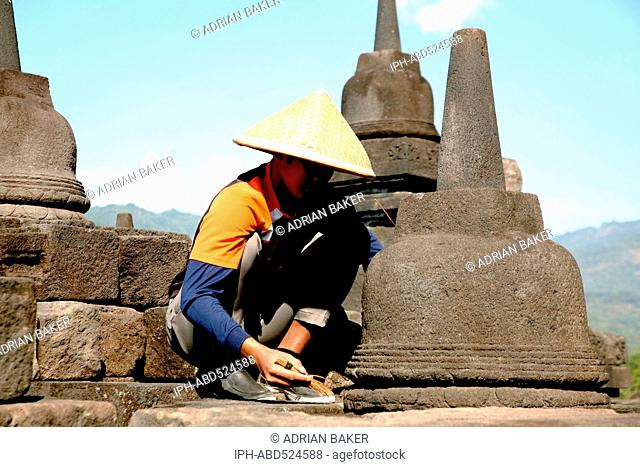 Indonesia Central Java Magelang Borobudur temple dates from the 9th century and is situated on a large plain surrounded by volcanoes Bas relief showing scenes...