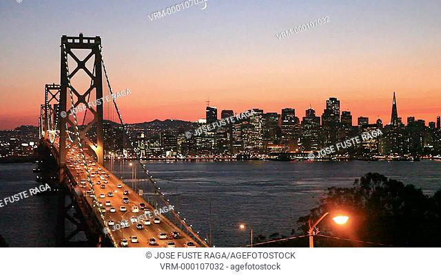 USA-California-San Francisco City-Bay Bridge and Downtown at sunset