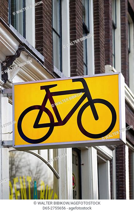 Netherlands, Amsterdam, bicycle sign