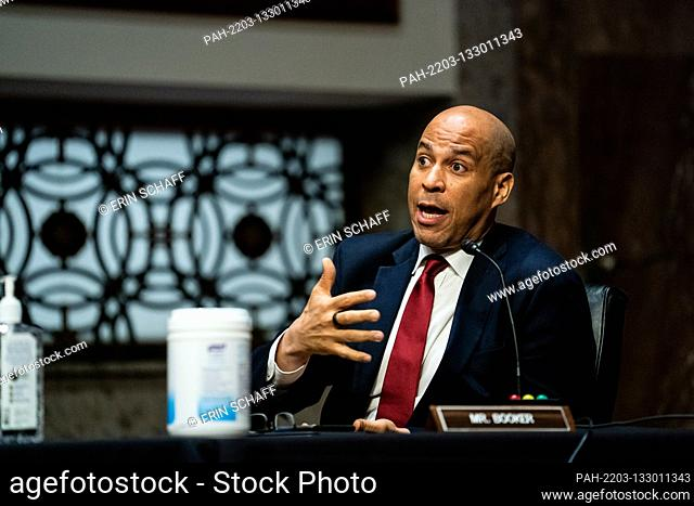 United States Senator Cory Booker (Democrat of New Jersey) attends a US Senate Judiciary Committee business meeting to consider authorization for subpoenas...