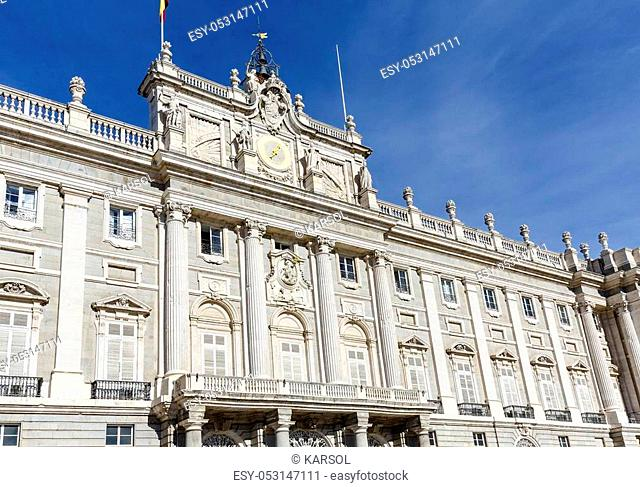 Madrid, Spain - November 27, 2015: The Palacio Real de Madrid (Royal Palace) is the ceremonial residence of the royal Spanish family