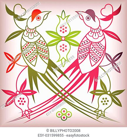 illustration of floral abstract and bird