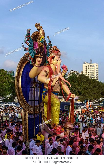Final Day immersion procession of Ganesh Festival 2017, Mumbai, India