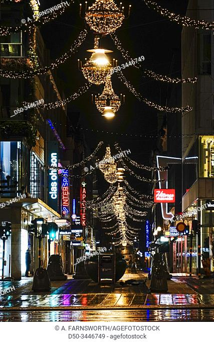 Stockholm, Sweden The Drottninggatan street in the early morning at Christmas time